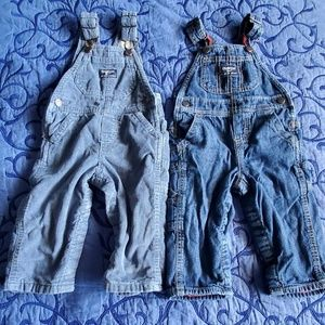 Bundle OshKosh Overalls Fleece Lined Size 12 Month